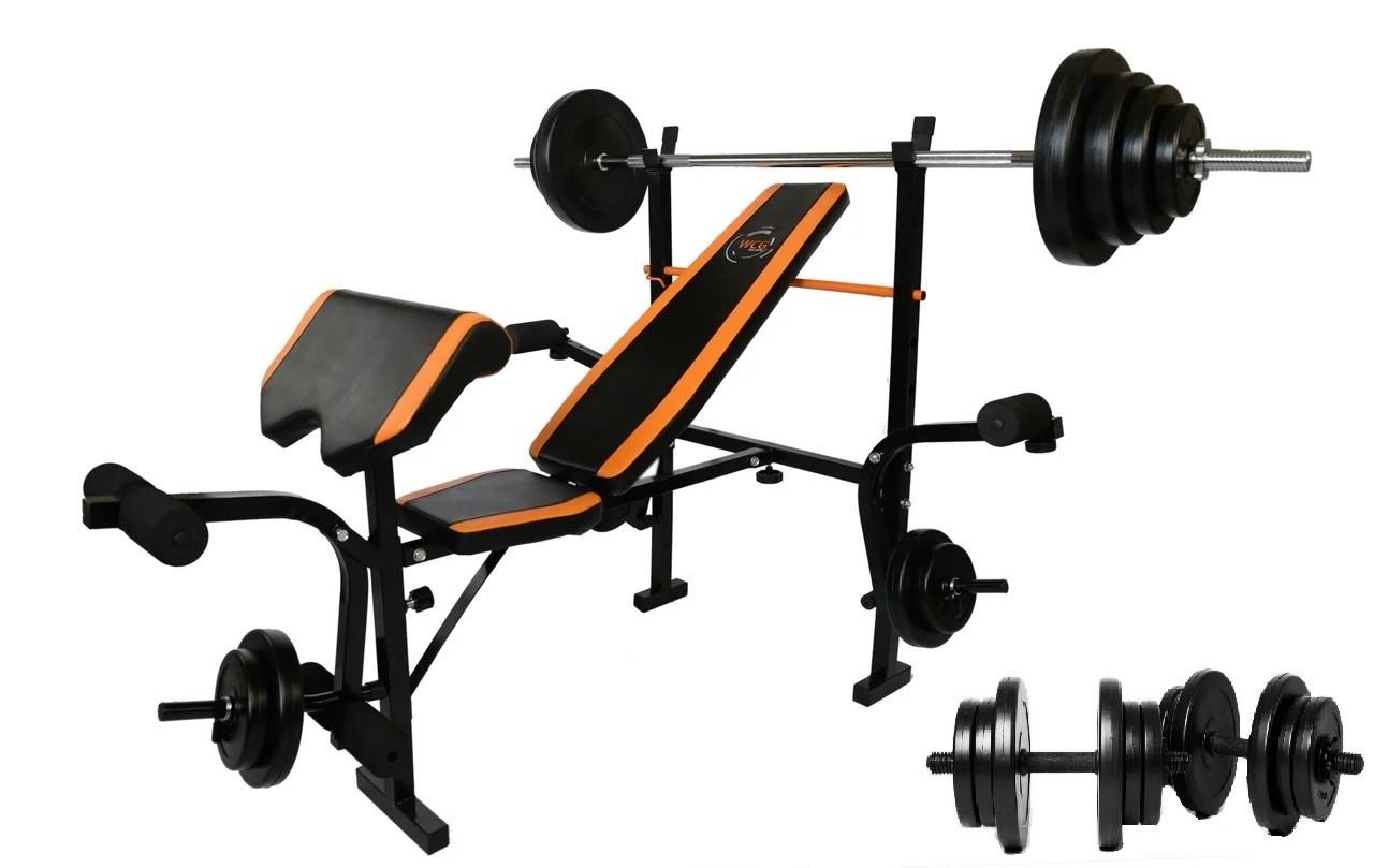 Скамья Для Жима WCG 0055 + Приставка Скотта +Штанга 60 кг + Гантели, Скамья со стойками  в наборе штанга 60 кг