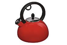 Чайник Granchio Capriccio Rosso Bollittore 2,5л емаль, Чайник с крышкой и ручкой, Чайник со свистком из емали