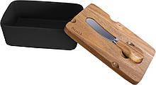 Маслянка Husla Hugge з деревяною кришкою і ножем кераміка (73977)