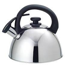 Чайник Maestro Black черная ручка 2,5л нержавейка, Чайник с крышкой и ручкой, Чайник со свистком из нержавейки
