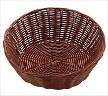 Корзина FoREST круглая темно-коричневая d18 см h7 см, Корзина для хранения хлеба. Хлебница темно-коричневая