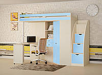 """Детская кровать-чердак с рабочей зоной,со шкафом"""" М-85 """" Кровать чердак со столом для школьника 244*125*185"""