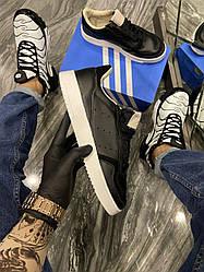 Мужские кроссовки Adidas Brand With The 3 Stripes Black White (черные)