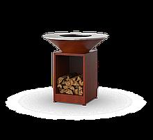 Гриль мангал с костровой чашей с покрытием под ржавчину и открытой тумбой HOLLA GRILL HGOR-1