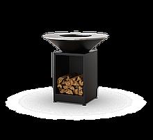 Гриль-мангал с костровой чашей с открытой тумбой в черном цвете HOLLA GRILL HGBO-1
