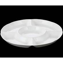 Менажница Wilmax на 5 отделений d25,5 см фарфор, Менажница белая с пятью емкостями, Фарфороровая менажница