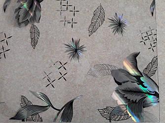 Скатерть мягкое стекло Soft Glass с лазерным рисунком 1.6х0.8м (толщина 1.5мм) Серебристые цветы