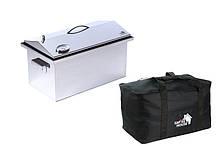 Коптильня с термометром из нержавеющей стали 520 х 300 х 310 и крышкой домик с сумкой