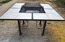 """Стол трансформер для кемпинга 125х125см стол мангал - гриль садовый складной """"Троян"""""""