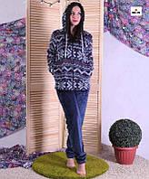 Пижама женская махровая теплая с капюшоном с орнаментом синяя 44-56р.