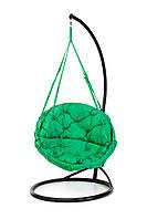 Подвесное кресло гамак для дома и сада с большой круглой подушкой 96 х 120 см до 150 кг зеленого цвета