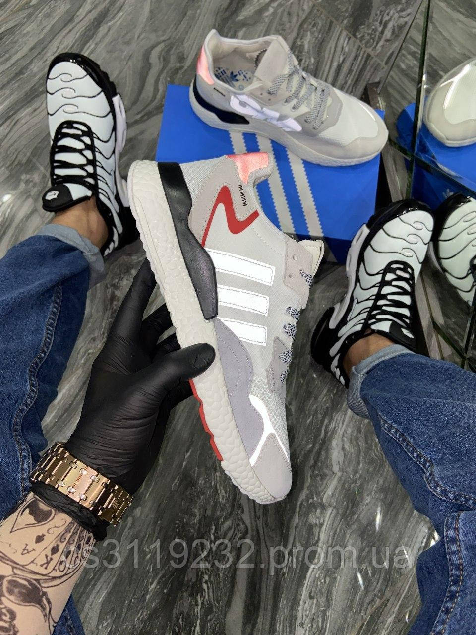 Мужские кроссовки Adidas Nite Jogger 3M Reflective Grey Red (серые)