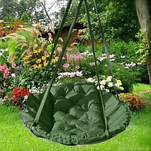 Підвісне крісло гамак для будинку й саду 96 х 120 см до 120 кг темно зеленого кольору