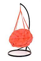 Подвесное кресло гамак для дома и сада с большой круглой подушкой 96 х 120 см до 200 кг кораллового цвета