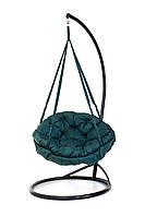 Подвесное кресло гамак для дома и сада с большой круглой подушкой 96 х 120 см до 200 кг темно зеленого цвета