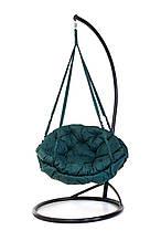 Підвісне крісло гамак для дому та саду з великою круглою подушкою 96 х 120 см до 200 кг темно зеленого кольору