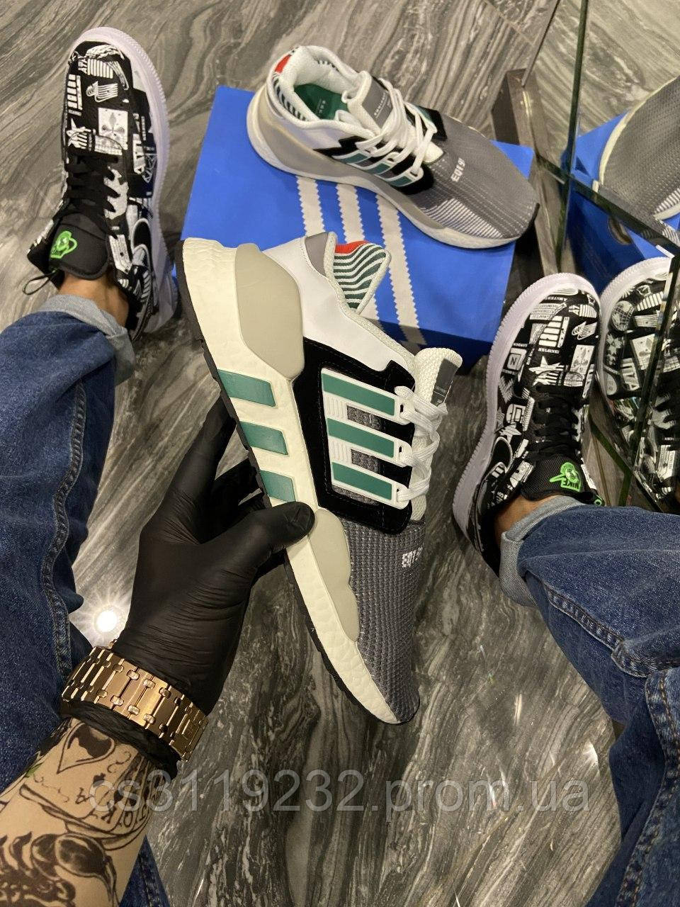 Чоловічі кросівки Adidas EQ Black White Green (сірий/білий/зелений)