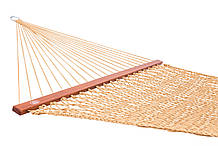 Плетений Гамак золотого кольору Arlio Rome Сімейний з планкою 3.2 м х 1.5 м