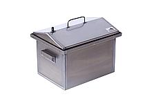 Коптильня горячего копчения крышка домиком 400 х 300 х 310 в наборе щепы для копчения и книга рецептов
