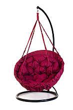 Підвісне крісло гамак для дому та саду з великою круглою подушкою 96 х 120 см до 200 кг бордового кольору