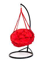 Підвісне крісло гамак для дому та саду з великою круглою подушкою 96 х 120 см до 200 кг червоного кольору