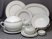 Сервиз столовый Thun Opal (Обводка сіра) на 6 персон 27 предметов фарфор (8034800)