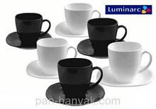 Набір чайний Luminarc Carine Black&White 12 предметів 220мл склокераміка (2371D)
