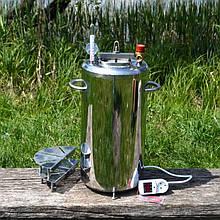 """Автоклав електричний з нержавіючої сталі побутовий для консервування з термометром """"Люкс-21"""" 2кВт"""