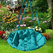 Подвесное кресло гамак для дома и сада 96 х 120 см до 150 кг бирюзового цвета