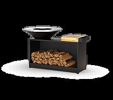 Гриль мангал барбекю с большой открытой тумбой в черном цвете HOLLA GRILL HGBW-3