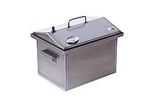 Коптильня горячего копчения крышка домиком с термометром из стали 400 х 300 х 310 для мяса, рыбы и сала
