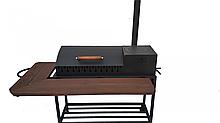 Мангал гриль из высоко углеродистой стали с деревянным столиком в черном цвете BBQ Smoke House Люкс