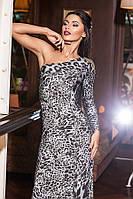 Платье ассиметричное леопард