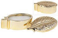 Декоративная свеча в виде пера с крышкой, 10.5см, цвет - золото