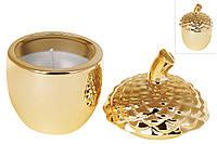 Декоративная свеча с крышкой Желудь, 8см, цвет - золотой