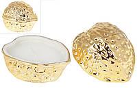 Декоративная свеча с крышкой Орешек, 11см, цвет - золотой