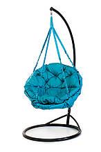 Подвесное кресло гамак для дома и сада с большой круглой подушкой 96 х 120 см до 150 кг бирюзового цвета