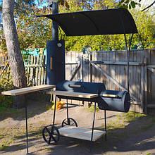 Коптильня холодного и горячего копчения с дубовым угловым столиком и крышей и четырьмя решетками Троян