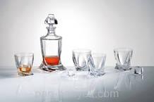 Набор для виски Bohemia Quadro (графин 850мл+ стакани 340мл-6шт) 7 предметов богемское стекло (b99999-99A44)