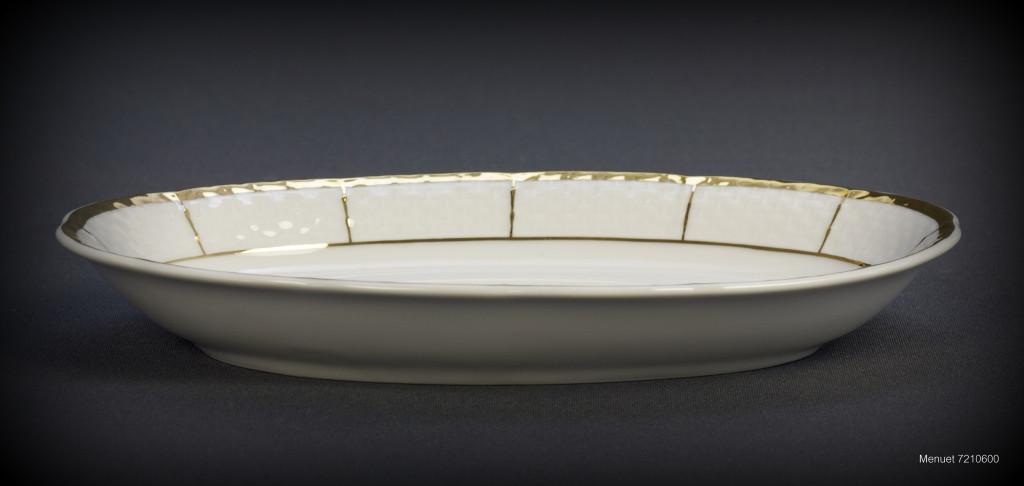 Блюдо овальное с бортом Thun Menuet (Обводка золото) длина 21 см фарфор (7210600)