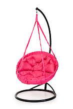 Підвісне крісло гамак для дому та саду з великою круглою подушкою 96 х 120 см до 200 кг рожевого кольору