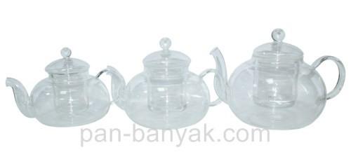 Чайник заварочный Оленс Грецький с стекляным ситечком 1,1л стекло (34288-1)
