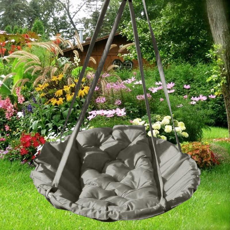 Подвесное кресло гамак для дома и сада 96 х 120 см до 150 кг серого цвета