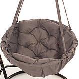 Подвесное кресло гамак для дома и сада 96 х 120 см до 150 кг серого цвета, фото 3