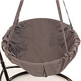 Подвесное кресло гамак для дома и сада 96 х 120 см до 150 кг серого цвета, фото 5
