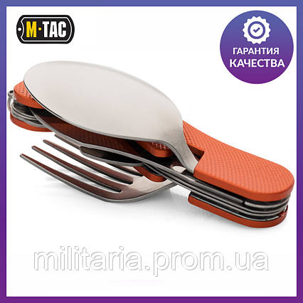 Туристический набор (4 элемента) - ложка, вилка, нож, открывашка M-Tac Large сталь (60012035), фото 2