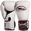 Боксерские перчатки кожаные для спаррингов на липучке TWINS Натуральная кожа Белые (СПО BGVLA1) 12 унций