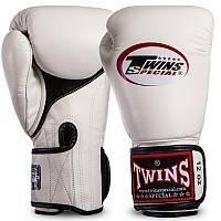 Боксерские перчатки кожаные для спаррингов на липучке TWINS Натуральная кожа Белые (СПО BGVLA1) 12 унций, фото 1