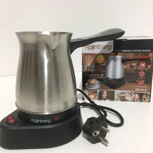 Турка электрическая кофеварка Rainberg RB-612 600W 0.5 л Silver