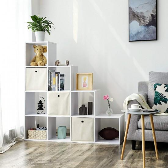 Стелаж для дому, поличка драбинка для книг та іграшок, розділювач кімнати на 10 осередків G0040